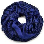 Tunelová šála 69tu007-30.70- modročerná s leopardím a geometrickým vzorem