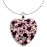 Přívěšek GLUGIS - srdíčko s fialovými kamínky