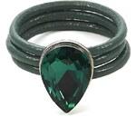 Intrigue Kožený prsten s kamenem zelená