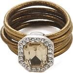 Intrigue Kožený prsten s kamenem zlatá