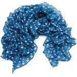 Intrigue Nabíraný puntíkovaný šátek modrá