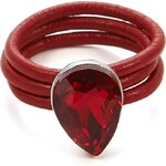 Intrigue Kožený prsten s kamenem červená