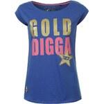 Golddigga Short Sleeve Glitter T Shirt Ladies Blue 8