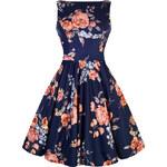 Retro šaty Lady V London Apricot Floral on Navy Tea