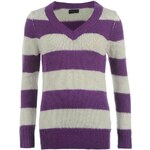Miss Fiori Essentials Striped Jumper Ladies Purple/W White 8 (XS)