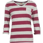 Lee Cooper Striped V neck T Shirt Ladies Burgundy/Ash M 8 (XS)