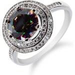Meucci Stříbrný prsten s mystickým topazem a zirkony