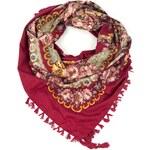 Art of Polo Folkový šátek s květy tmavě červený