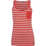Lee Cooper Jersey Stripe Vest Ladies Red/Ash Marl 6 (XXS)