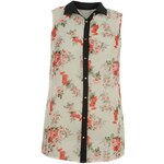 Golddigga Sleeveless All Over Print Shirt Ladies Ecru Floral 8 (XS)