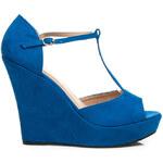 LAURA MODE Perfektní semišové modré sandály na klínku, vel. 39