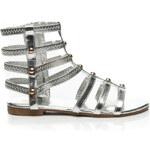 CLOWSE Luxusní stříbrné sandálky z tenkých efektních pásků zdobeny cvočky