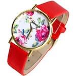 Shineko Dámské červené hodinky s květinovým vzorem