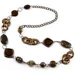 Jablonec Dlouhý náhrdelník 34fja269240 - hnědý