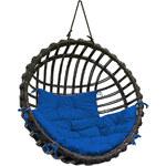 Proutěné závěsné křeslo Elis, hnědý rám/modrý sedák