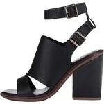 Černé kožené sandály na podpatku ALDO Callie