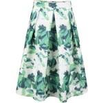 Bílo-zelená skládaná sukně s květy Apricot