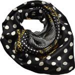 Šátek saténový 63sk003-70.01a - černý s puntíky a řetízky