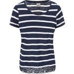 Bílo-modré pruhované tričko s krajkovaným lemem Vero Moda Hope