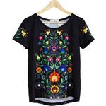 KOKO Černé květované tričko Colourfolk