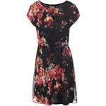 Černé květované šaty s páskem Vero Moda Newly