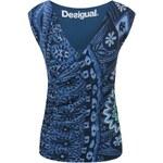 Modré vzorované tričko Desigual Magic