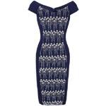 Tmavě modré pouzdrové šaty s výšivkou Little Mistress