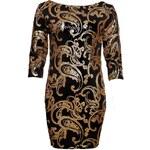 Due Linee Dámská šaty s flitry zlato - černá