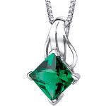 Eppi Stříbrný náhrdelník s jiskřivým smaragdem Janani