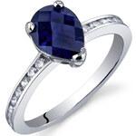 Eppi Stříbrný prsten se safírem a zirkony Hikari