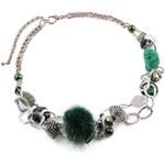 Náhrdelník krátký 34fxa554253 - tmavě zelený s kožešinou