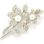 JewelsHall Brož kytice s krystaly - stříbrná