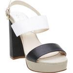 Cafe Noir Kožené dámské sandály na masivním podpatku