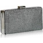 L&S Fashion Dámské luxusní psaníčko zdobené kamínky šedé