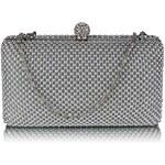 L&S Fashion Dámské luxusní zdobené psaníčko zdobené perličkami stříbrné