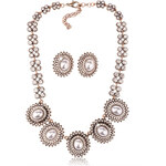 Sada náhrdelník a náušnice vintage s perlou SD0077-14