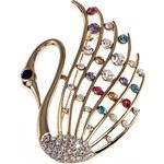 Brož labuť zdobená krystalky ve zlaté barvě BR0146-0332