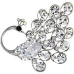 Brož páv stříbrné barvy s krystalky Swarovski elements BR0173-0301