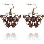 Náušnice etno motýlci s patinou a korálky NE0613-0308