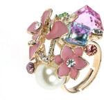 Prsten kytička a perla s krystaly PR0082-035Y06