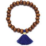 Beyou Náramek Wooden beads se střapcem modrý