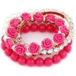 Beyou Sada náramků s růžičkami růžová
