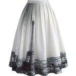 CHICWISH Dámská sukně Midi Eiffelova věž