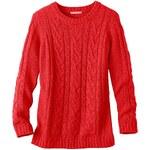 Blancheporte Jednobarevný pulovr s copánkovým vzorem korálová 34/36