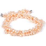 JwL Jewellery Třířadý náhrdelník z pravých růžových perel JL0007