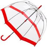 Fulton Dámský průhledný holový deštník Birdcage 1 Red L041-5