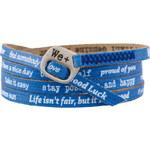 We Positive Modrý wrap náramek s nápisy 115