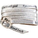 We Positive Stříbrný wrap náramek s nápisy a krystaly Swarovski Elements Silver SW002