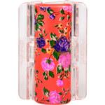 Linziclip Velký skřipec MAXI - perleťově oranžový s květinami