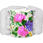 Linziclip Střední skřipec MIDI - perleťově bílý s květinami